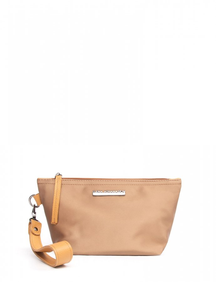 Satin clutch bag shiny gold