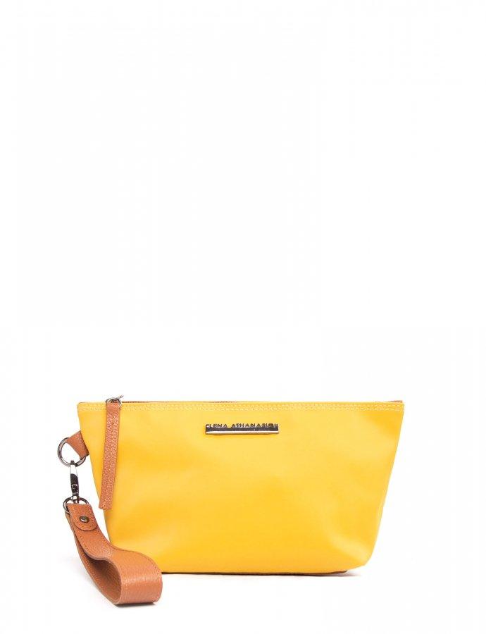 Satin clutch bag yellow