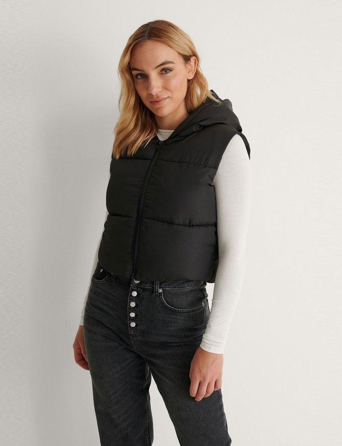 Short padded black vest