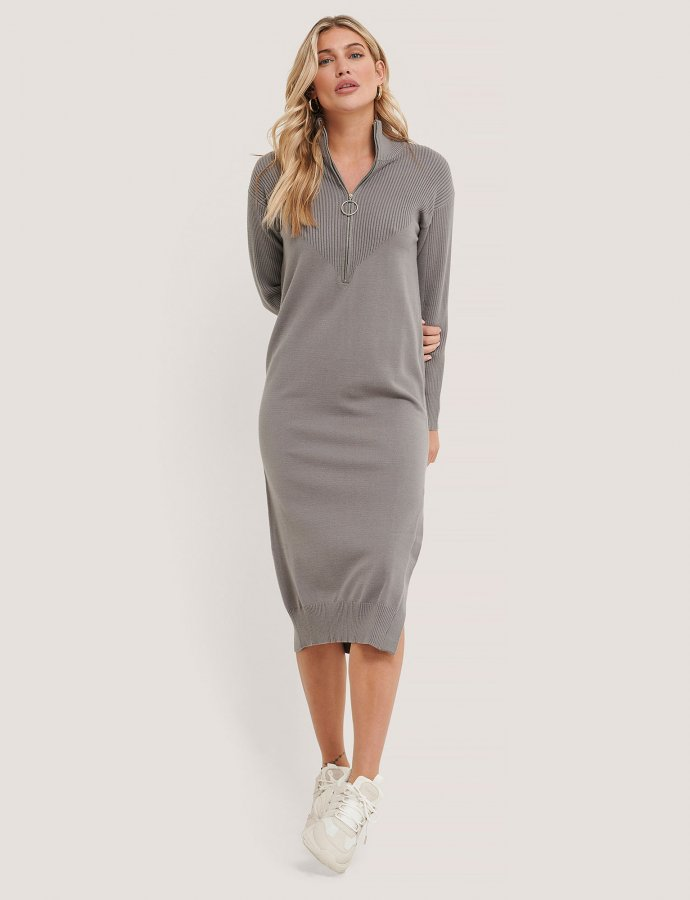 Side slit knit dress grey