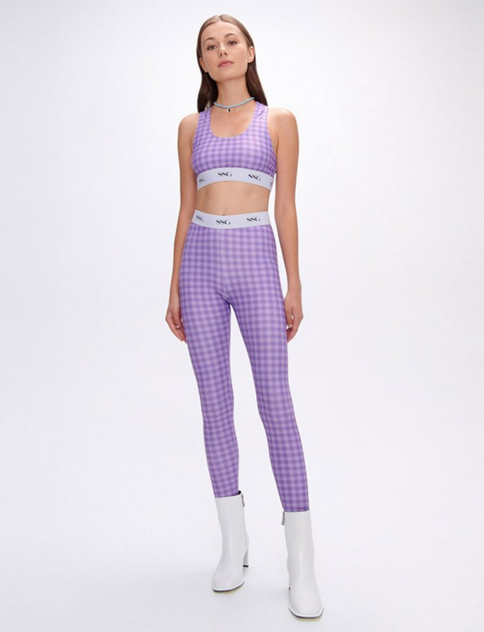 Avonia lilac plaid leggings