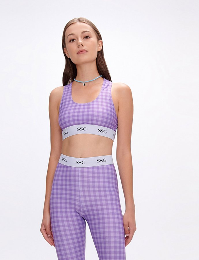 Adenia lilac plaid top