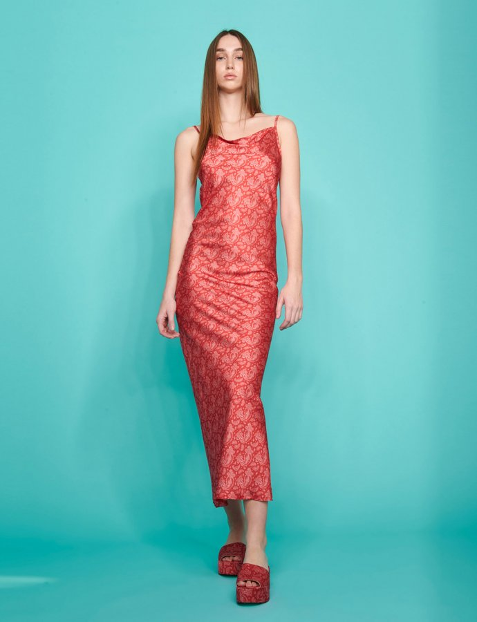 July dress red paisley