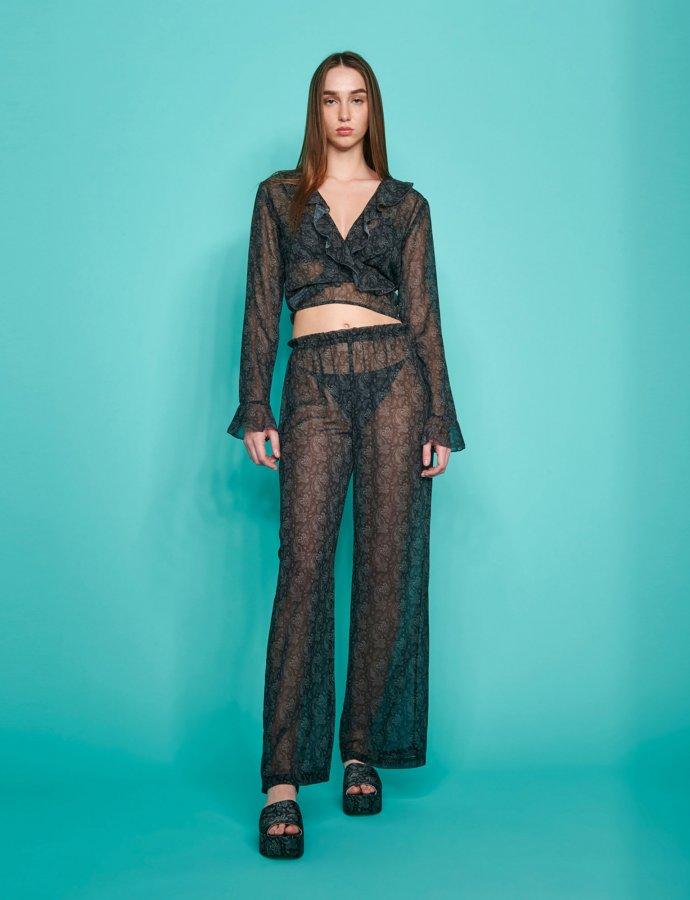 Valentina c-through pants black paisley