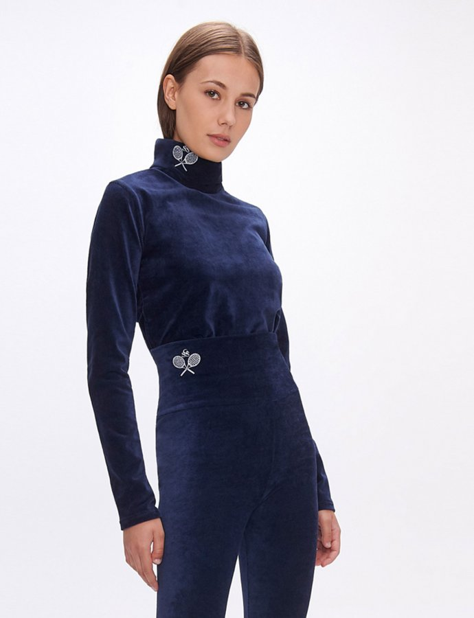 Dona dark blue turtleneck top