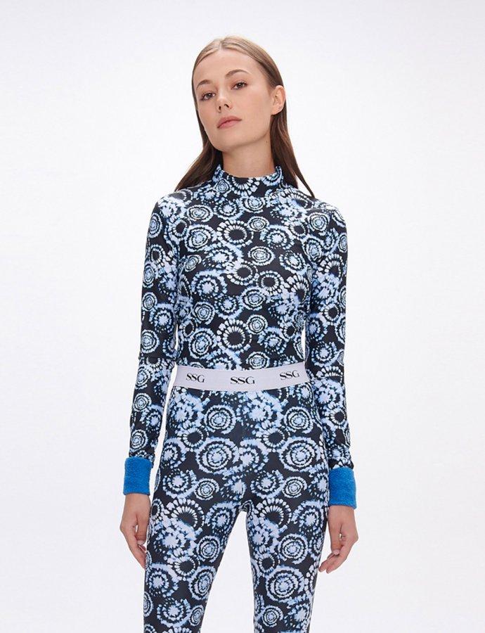 Gilda tie dye black and aqua top