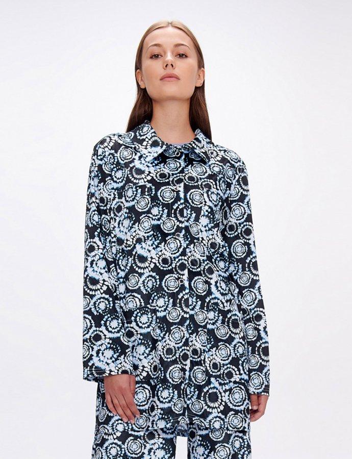 Brenda tie dye black & aqua velvet shirt