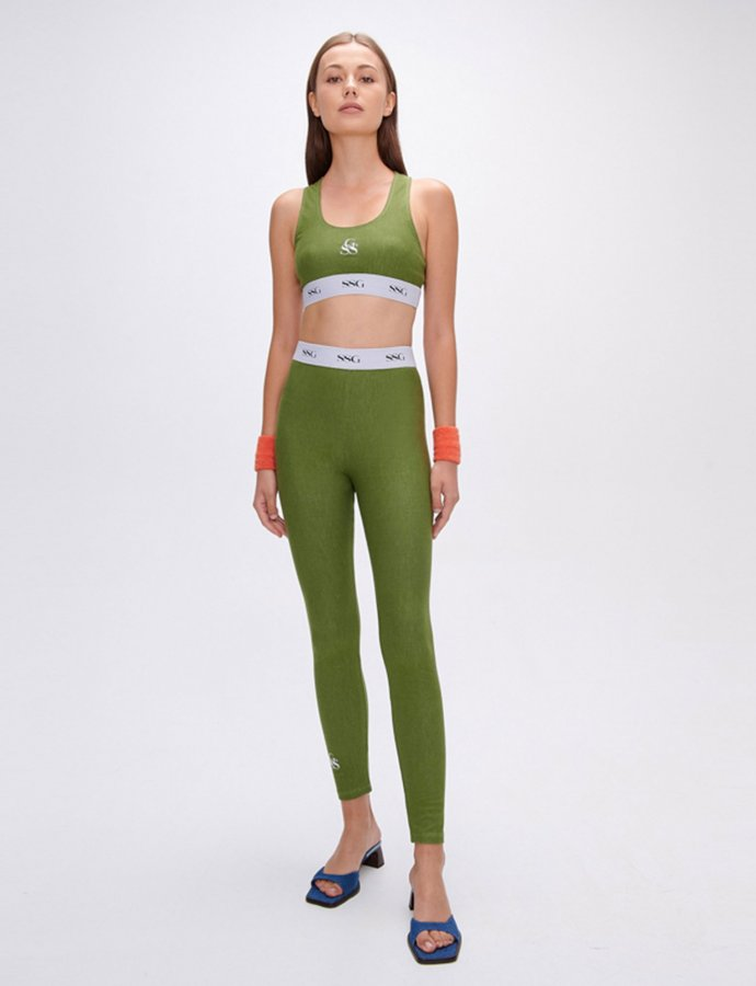 Kelly green eco jean leggings