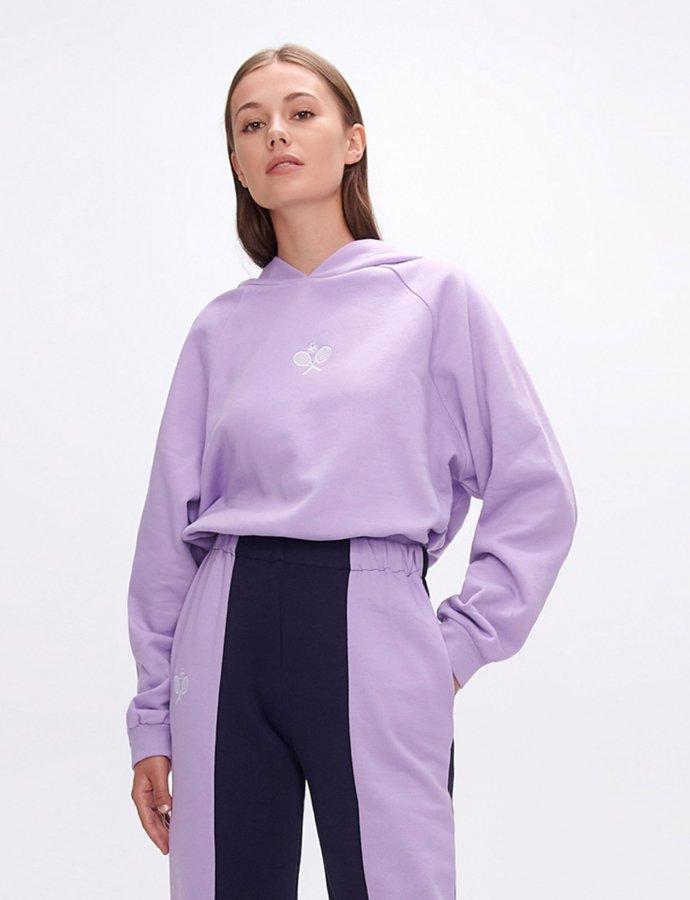 Yavia  rackets lilac crop hoodie