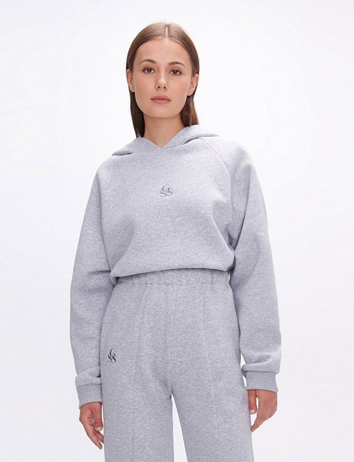 Yavia  SSG grey crop hoodie