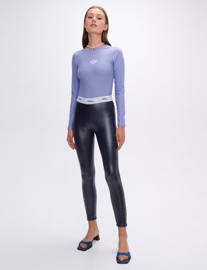 Evelyn dark blue vegan scuba leather zip leggings