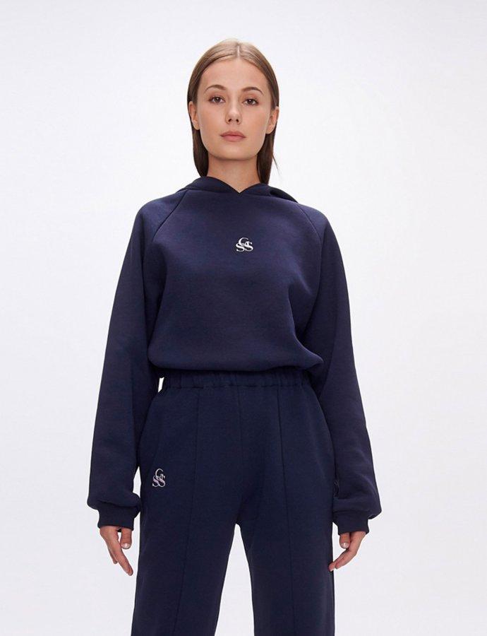 Yavia  SSG dark blue crop hoodie