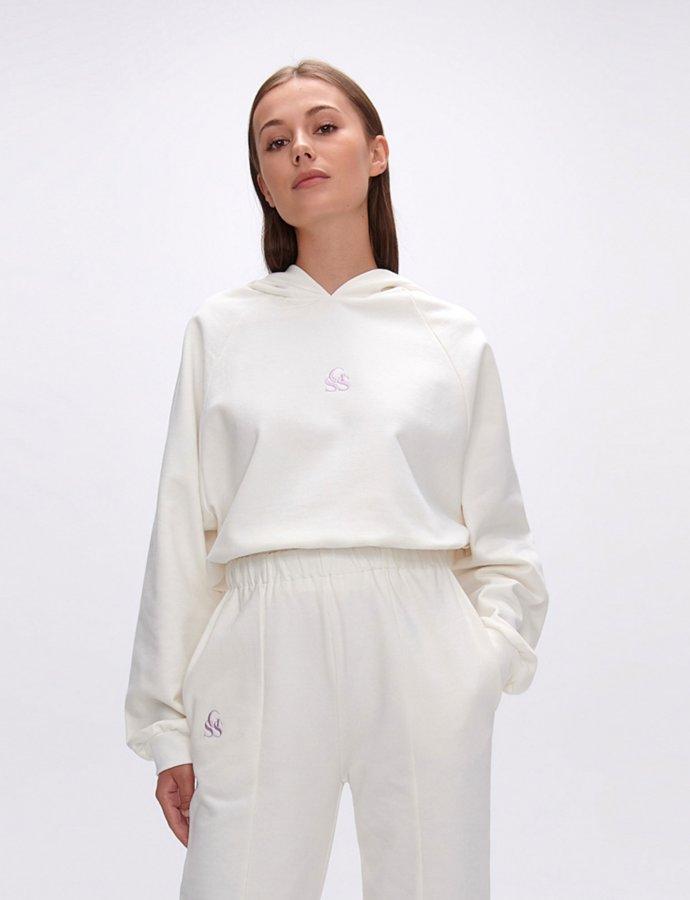 Yavia  SSG white crop hoodie