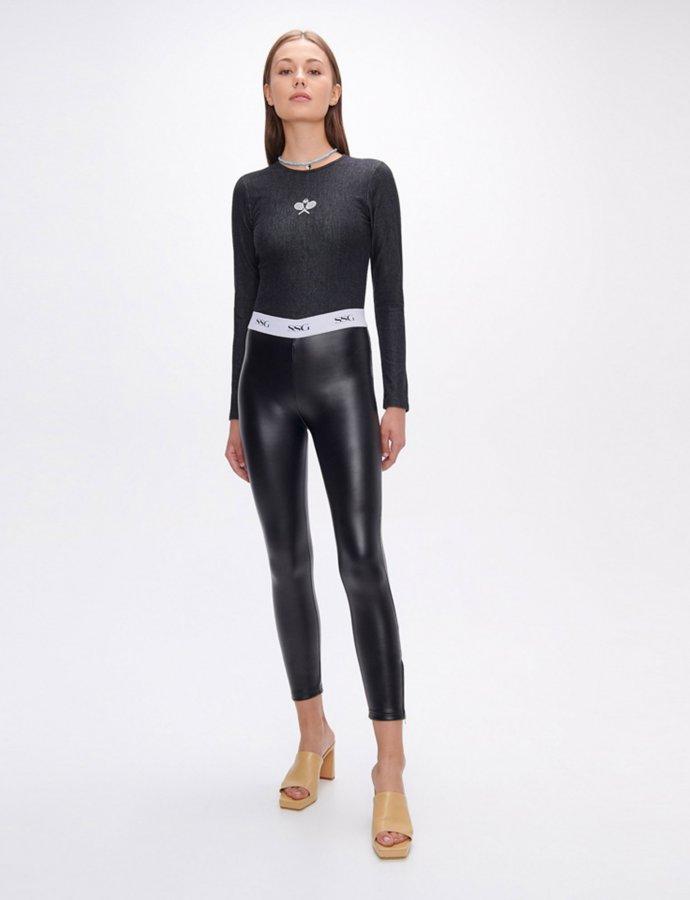 Evelyn black vegan scuba leather zip leggings