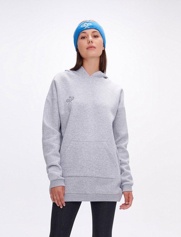 Hoodia rackets grey long hoodie