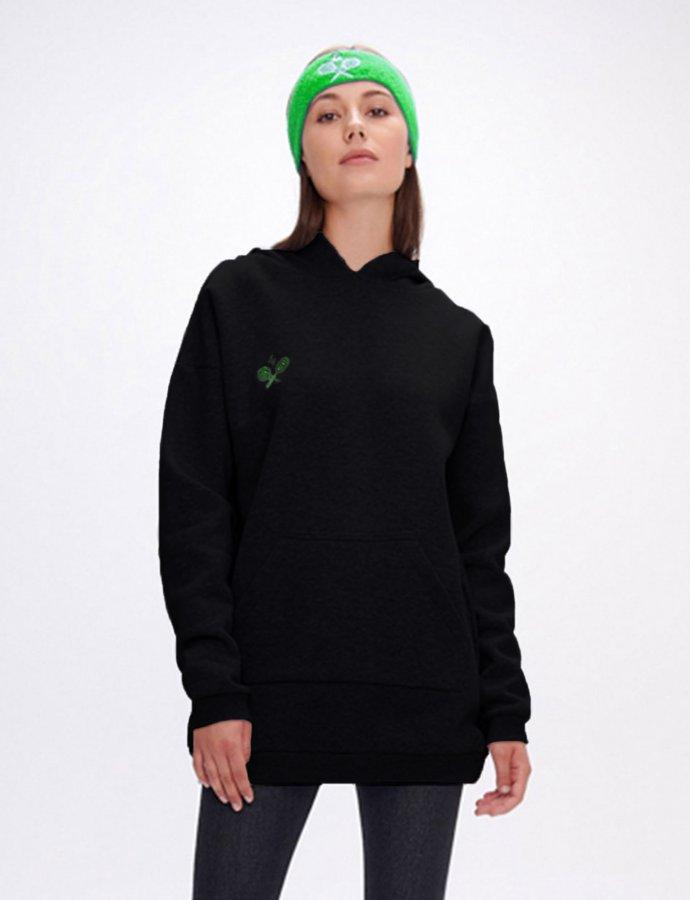 Hoodia rackets black long hoodie