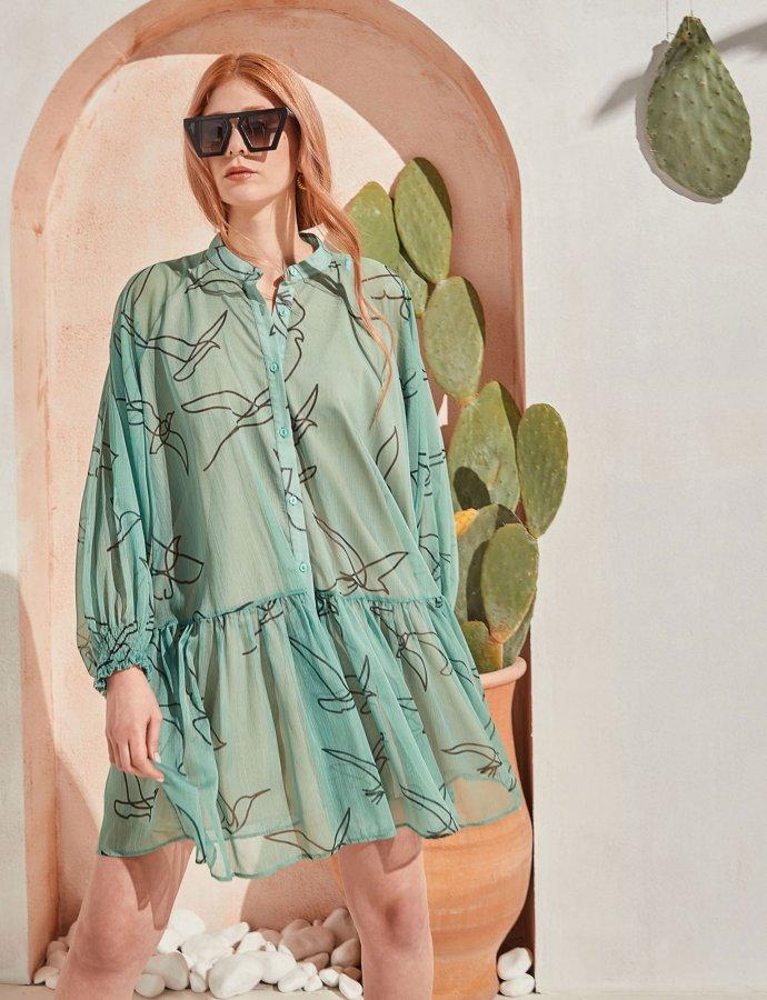 Journey silk dress mint birds