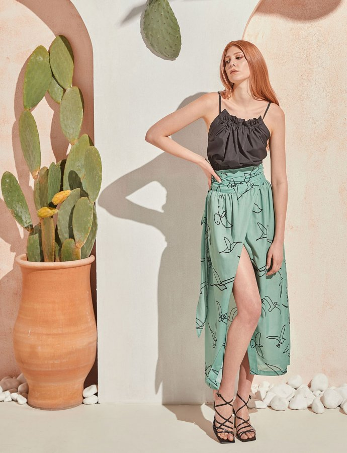 Column skirt mint birds