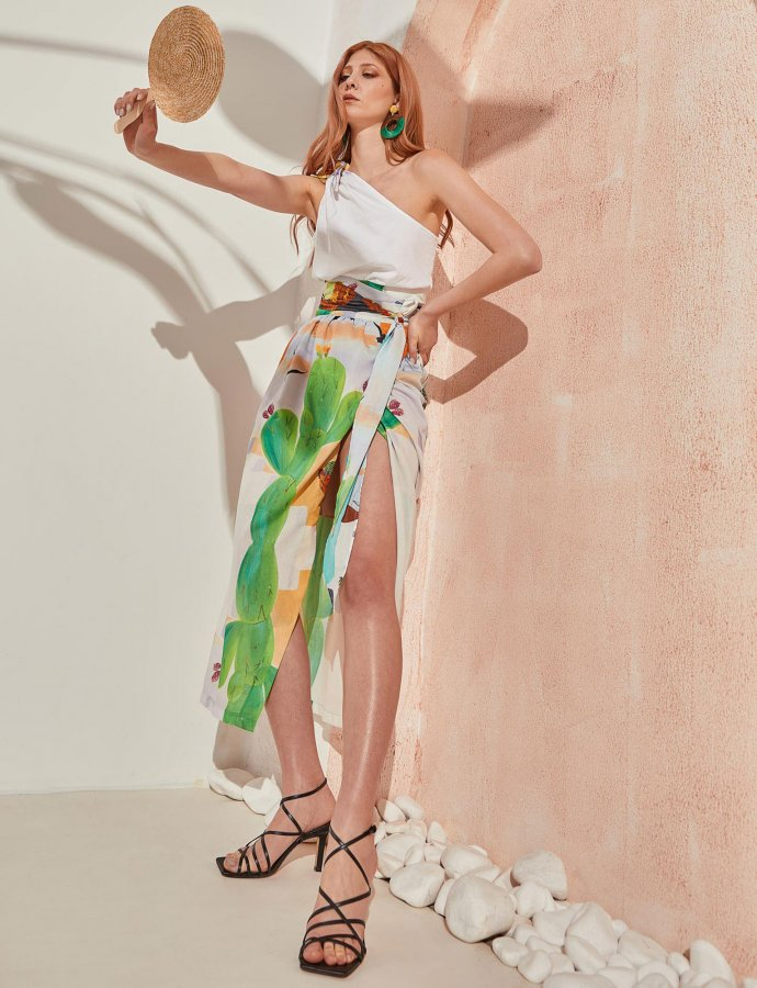 Column skirt cactus print