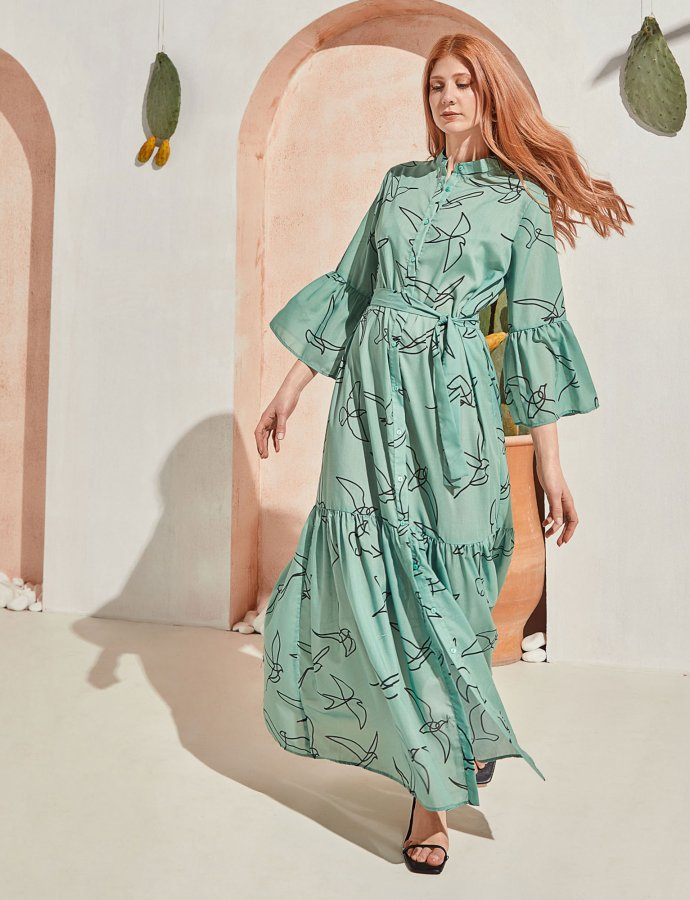 Sway maxi dress mint birds