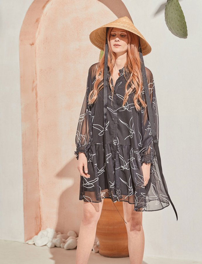 Journey silk dress black birds