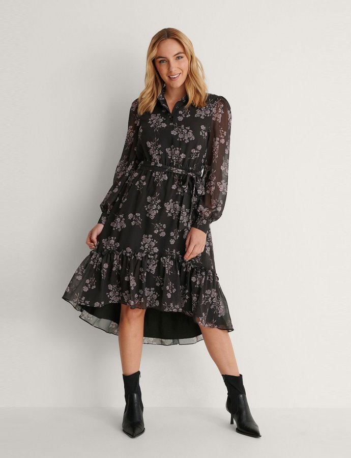 Tie waist midi dress floral