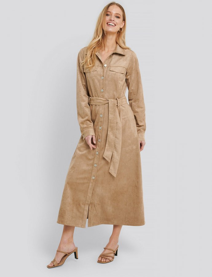 Utility faux suede shirt dress beige
