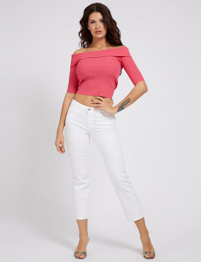 Sexy straight ankle pants white