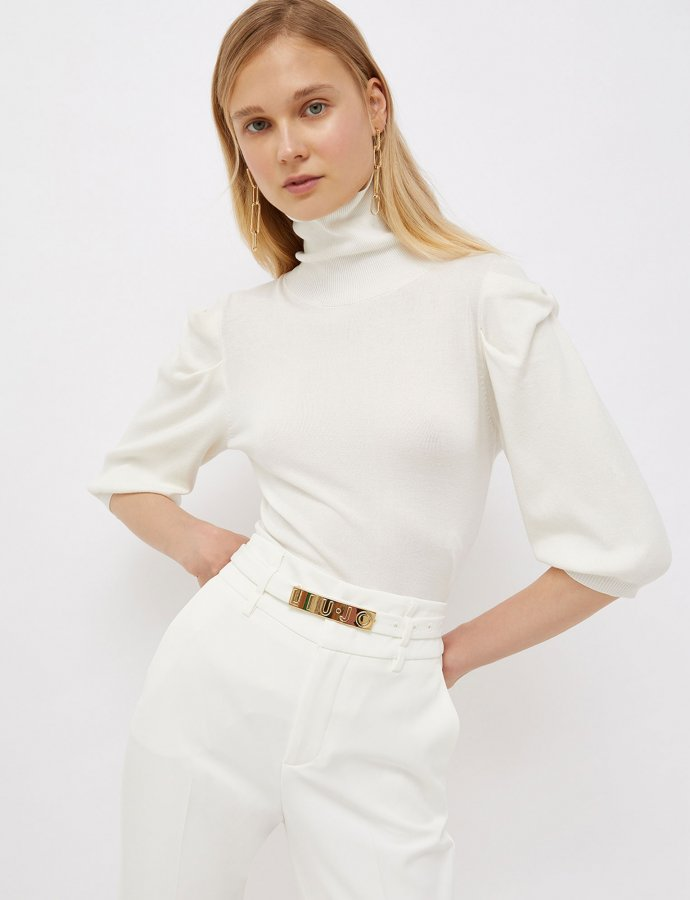 Knit turtleneck bianco