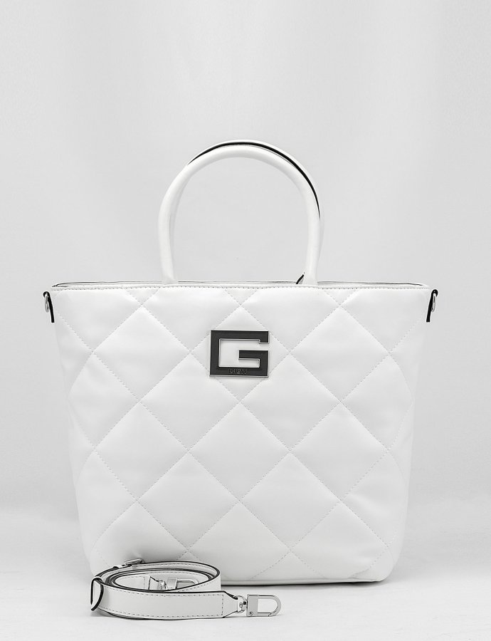 Brightside quilted tote bag white