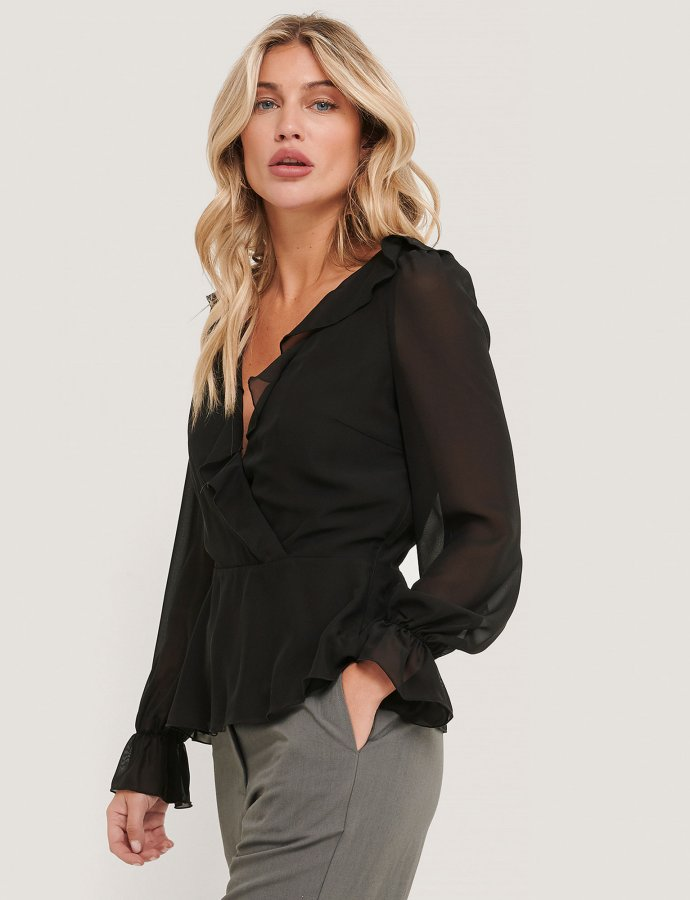 Black wrapped ruffle blouse