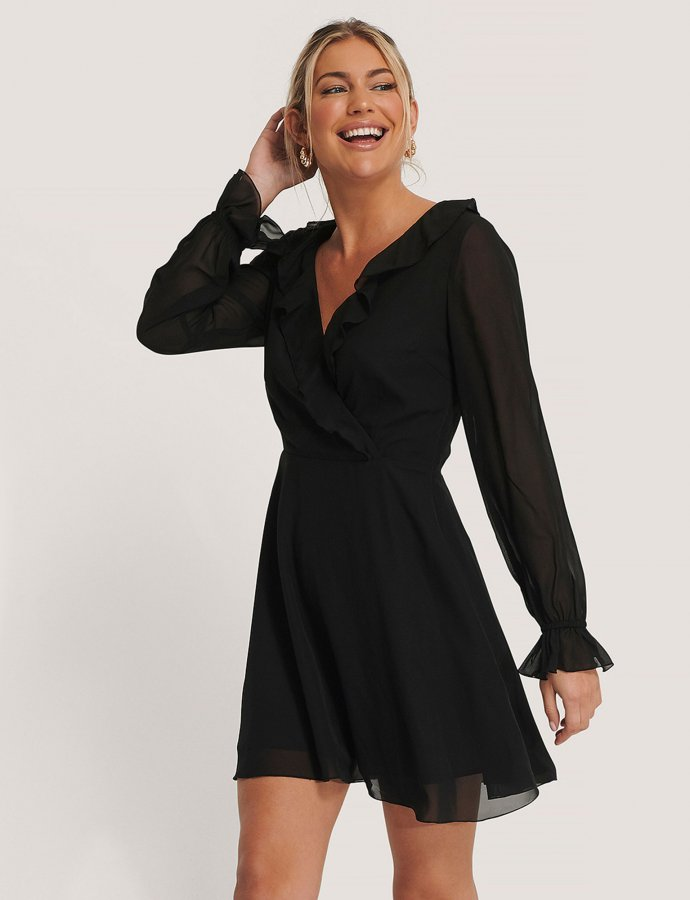 Black wrapped ruffle dress