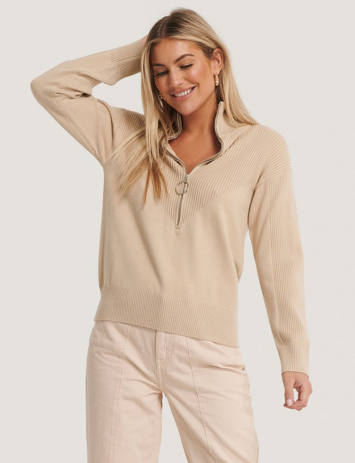 Zip knit polo sweater beige