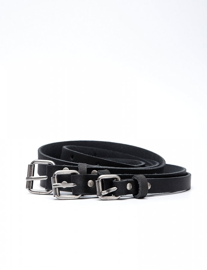 Triple leather belt black