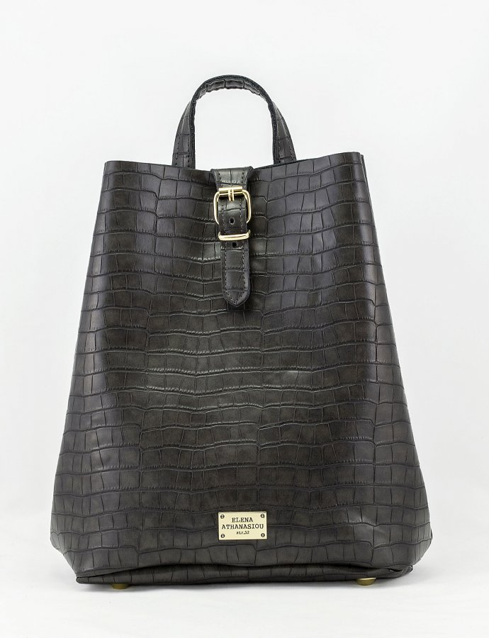 Croco backpack dark grey