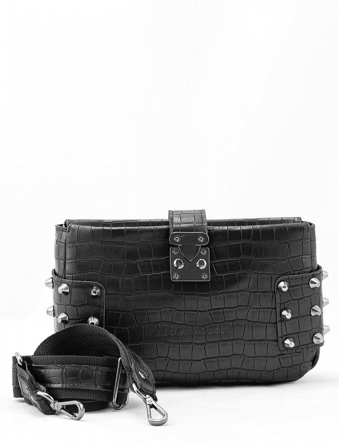 City lady croco clutch bag black