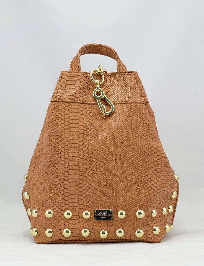 Backpack cognac snake gold