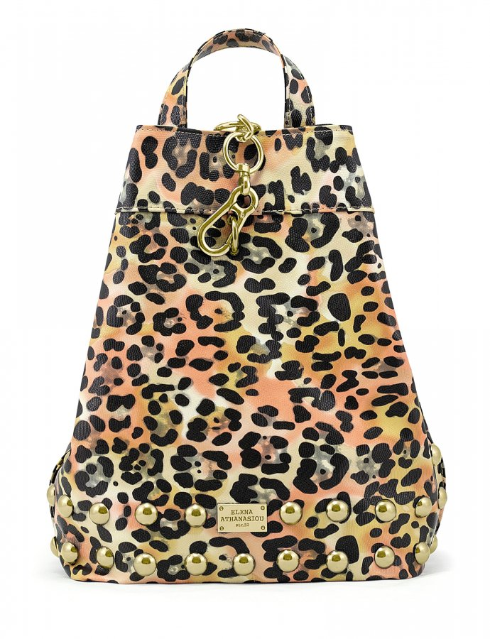 Backpack animal print yellow gold