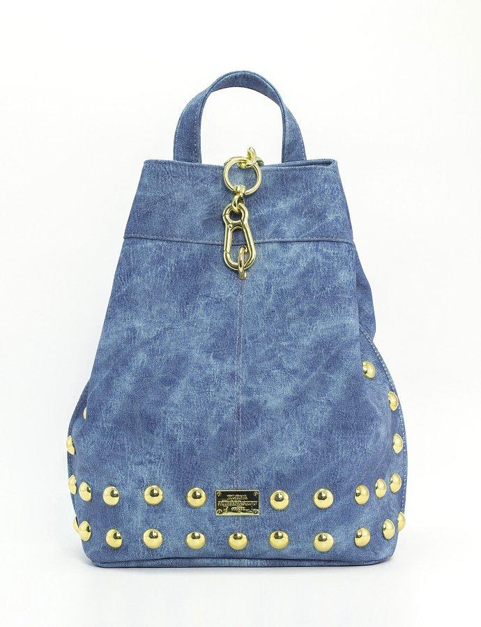 Backpack jean pattern blue gold