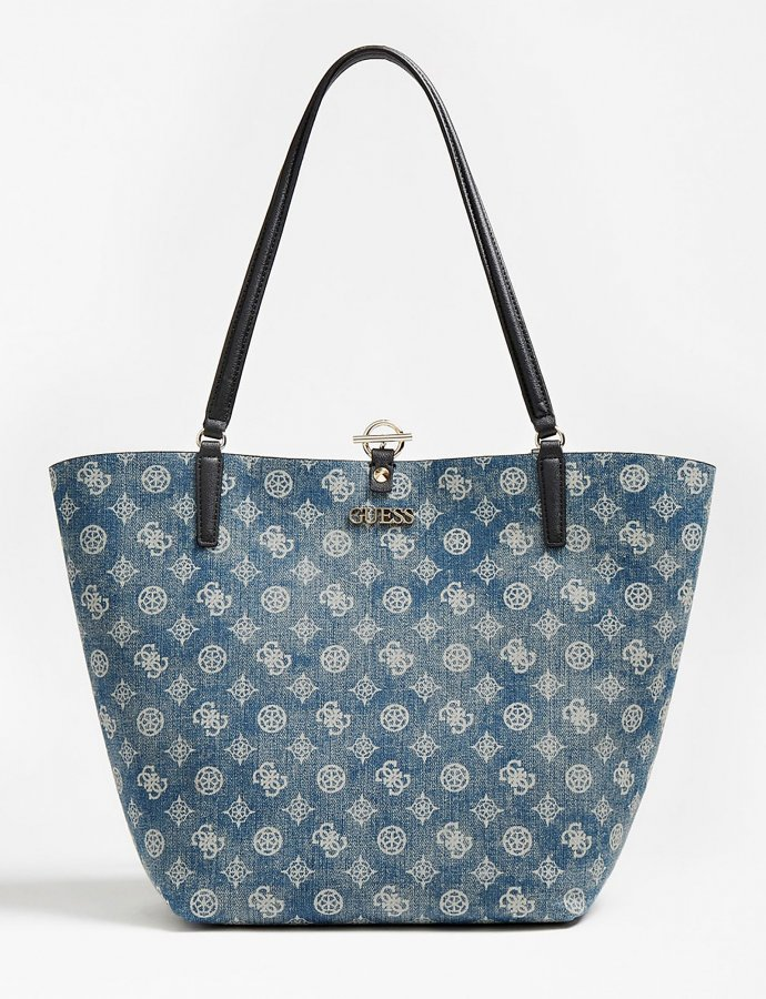 Alby toggle denim shopper bag