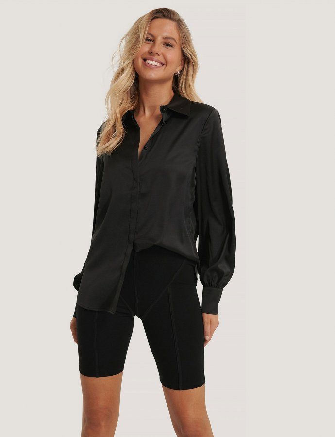 Black hidden button shirt