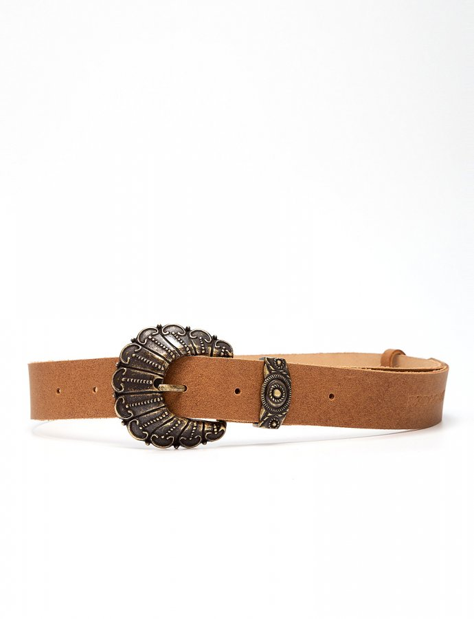 Petals leather belt tanned