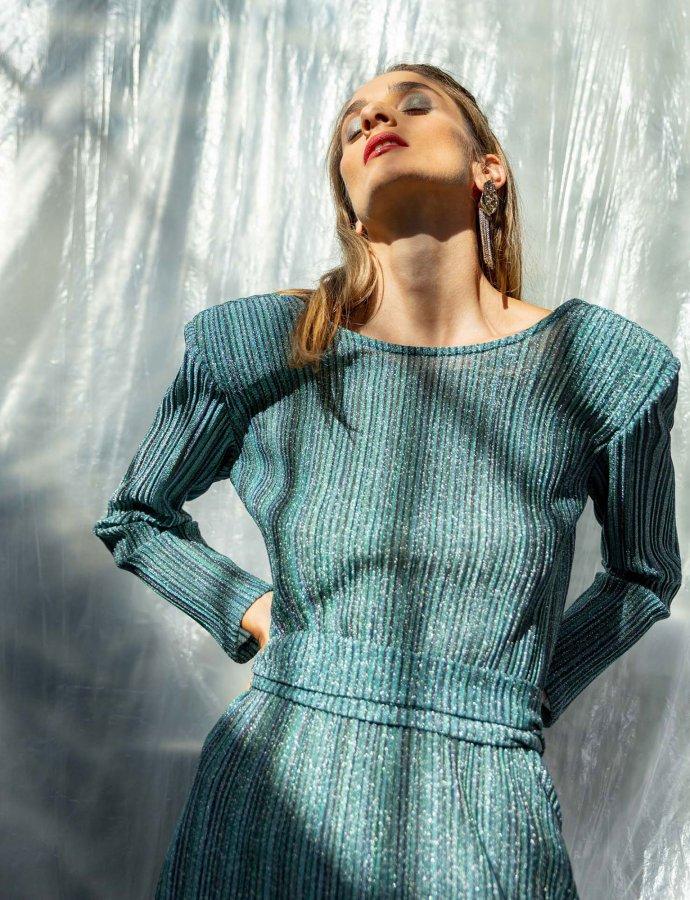 Illusion metallic pleated dress