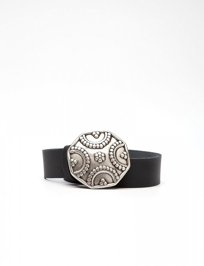 Shield leather belt black
