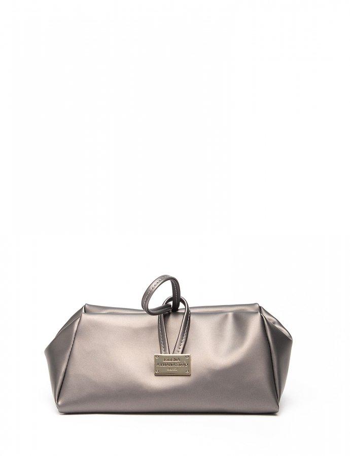 Metallic grey large lunch bag