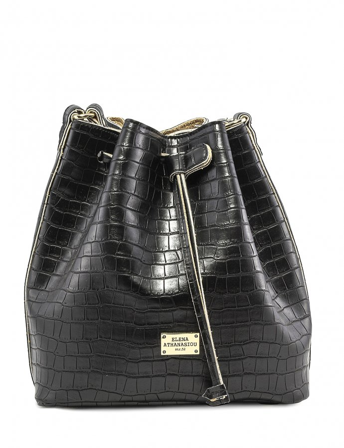 Croco pouch bag black
