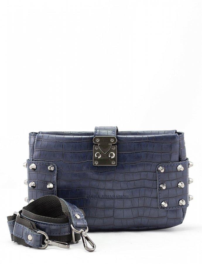 City lady croco clutch bag blue