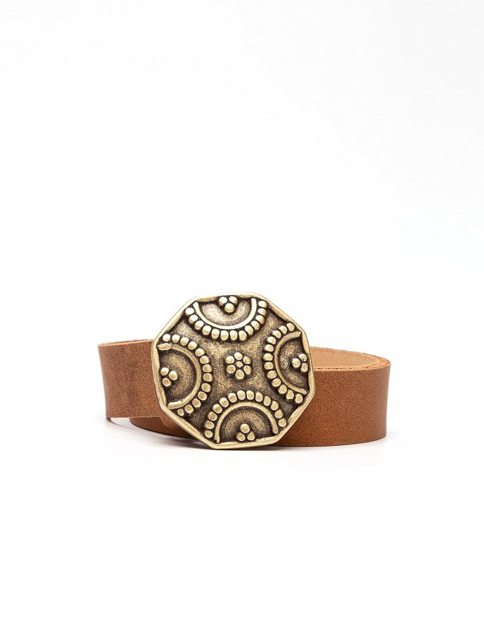 Shield leather belt tanned