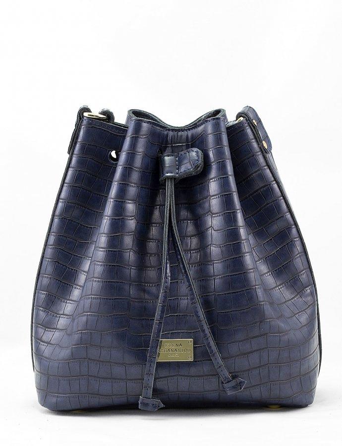 Croco pouch bag blue