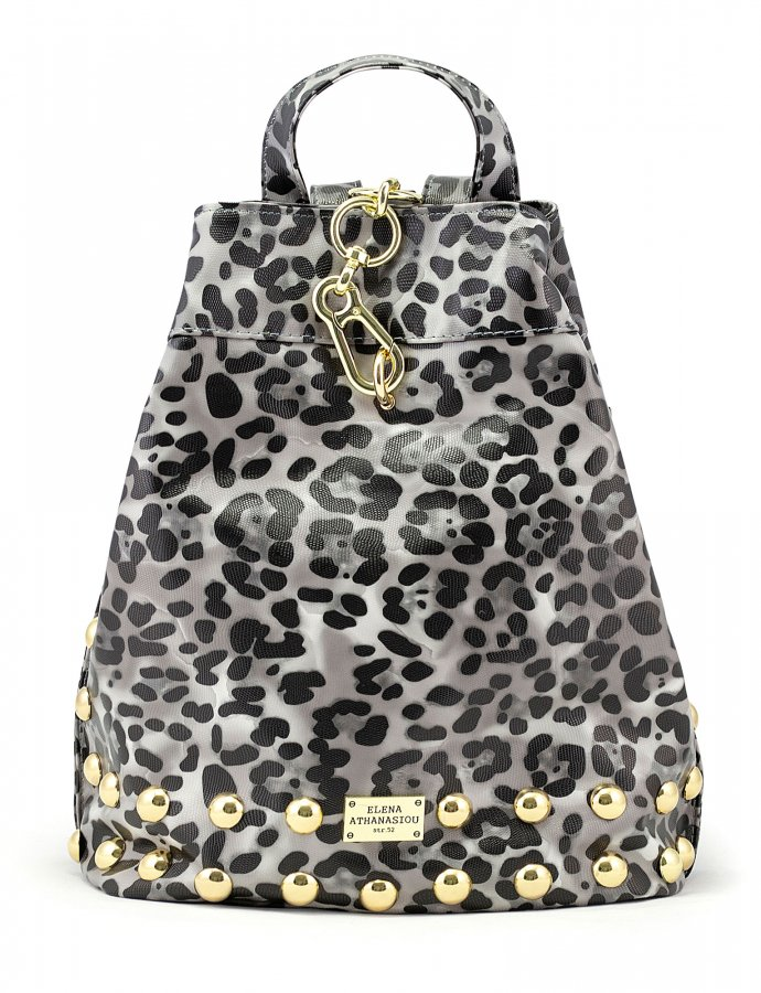 Backpack animal print black gold